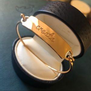 Jewelry - 'CREATE' Mantra Bangle Bracelet in Gold NIB